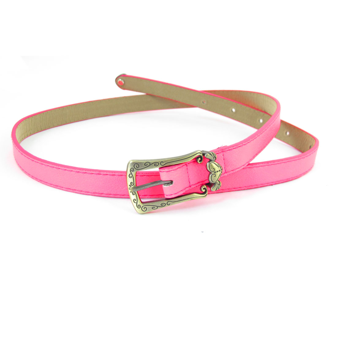 Women Single Pin Buckle Faux Leather Waistband Waist Belt Hot Pink