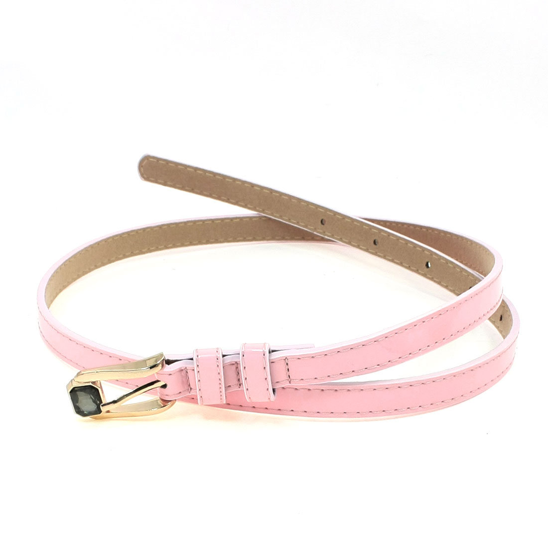 Faux Crystal Single Pin Buckle Adjustable Pink Skinny Waist Belt for Lady
