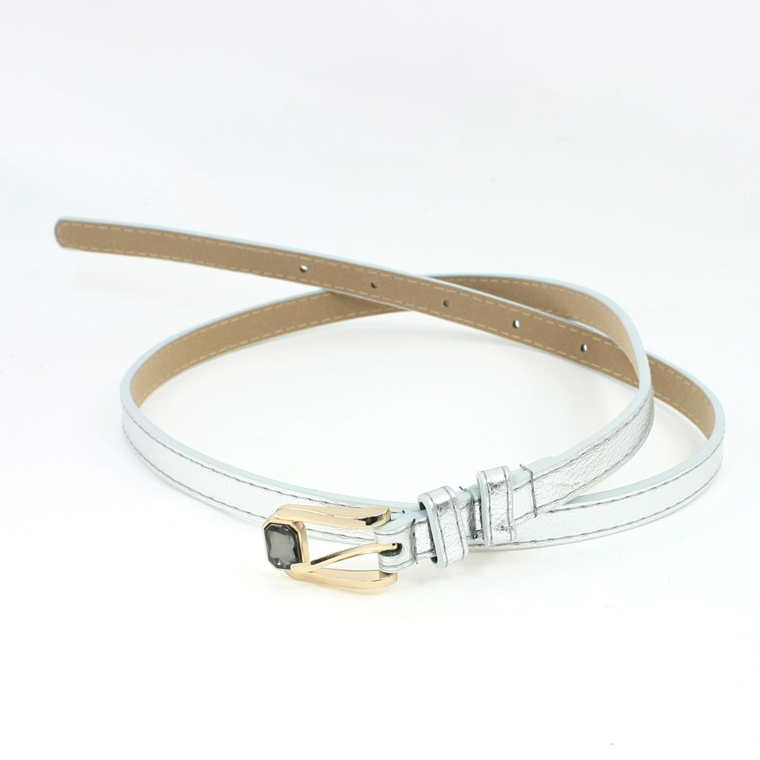 Lady Faux Crystal Single Pin Buckle Adjustable Silver Tone Silm Waist Belt
