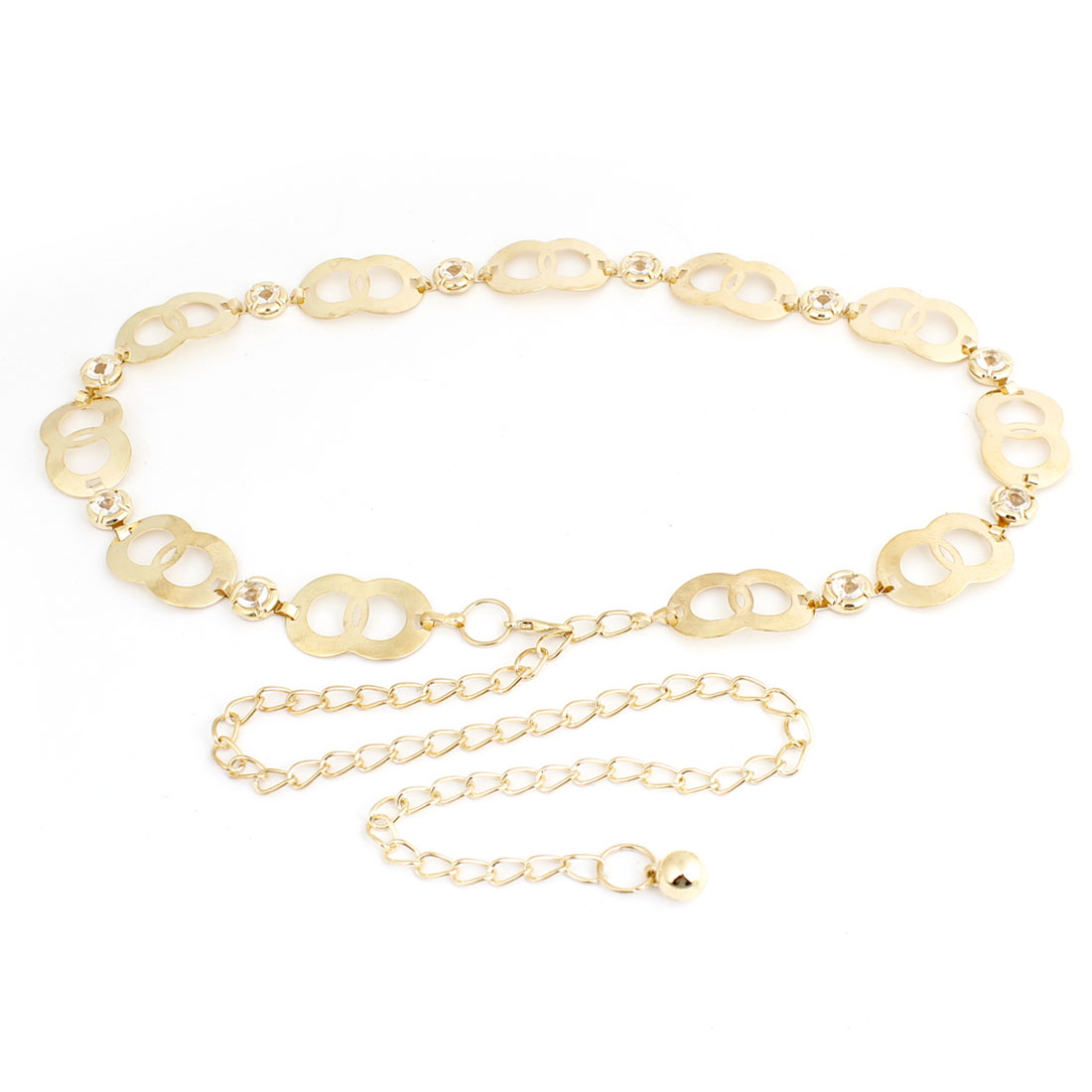 Women Lobster Hook Adjustable Circle Intersection Design Waist Chain Gold Tone