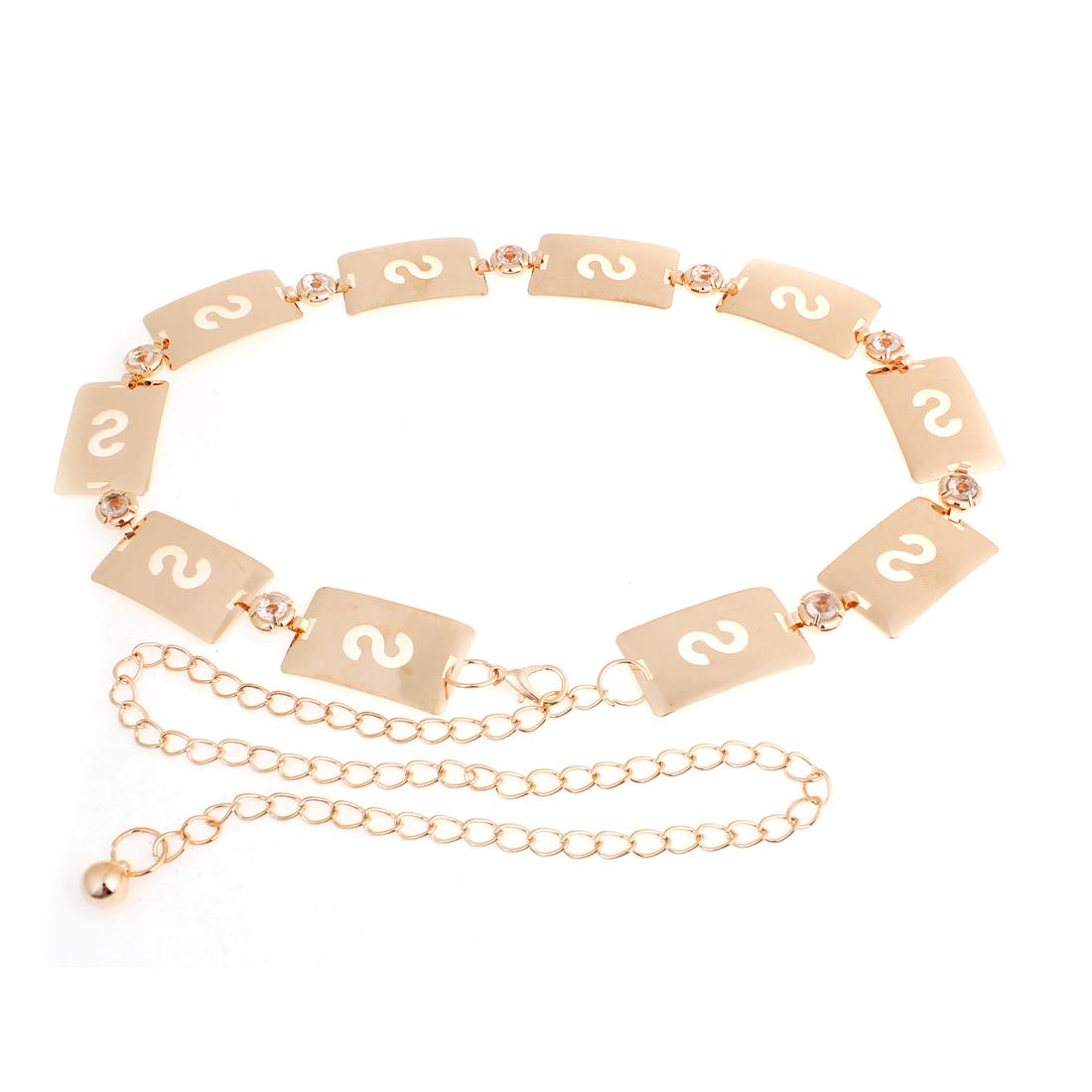 Gold Tone Lobster Closure Rectangular Metal Decor Waist Belt Chain for Women