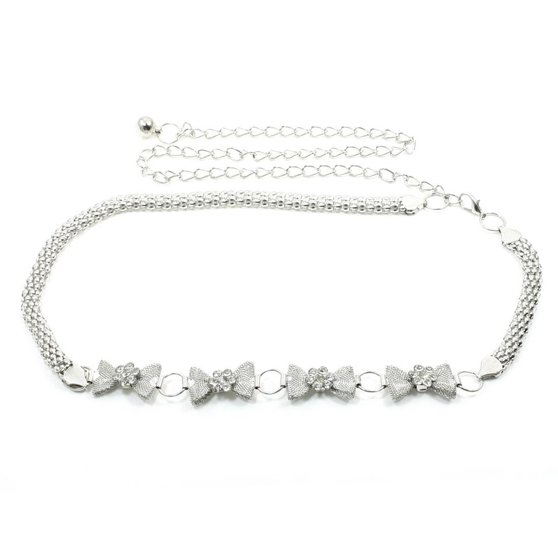 Woman Glitter Faux Crystals Silver Gray Adjustable Waist Chain Belt