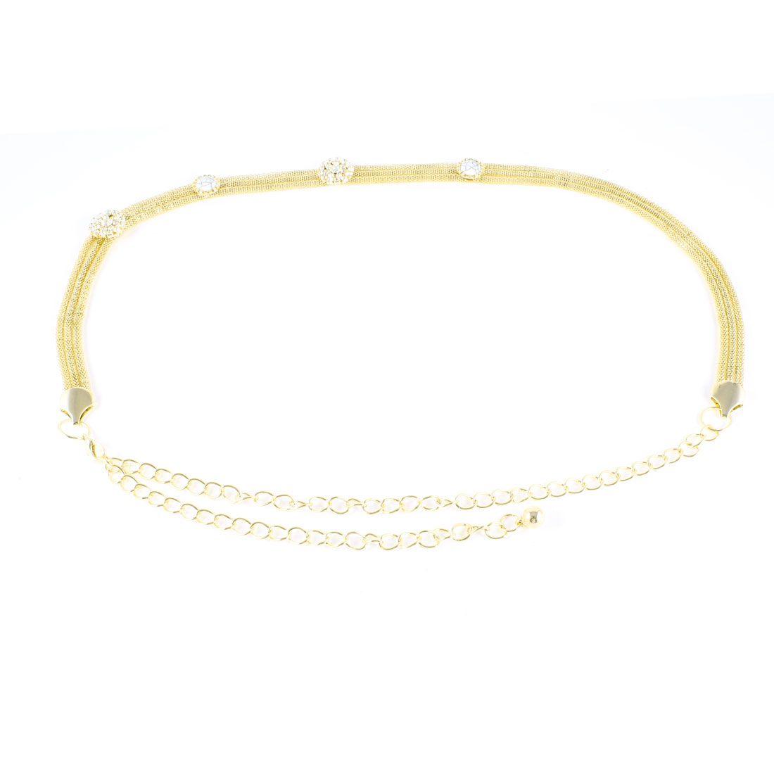 Lady Gold Tone Rhinestone Detailing Adjustable Metal Waist Chain Belt