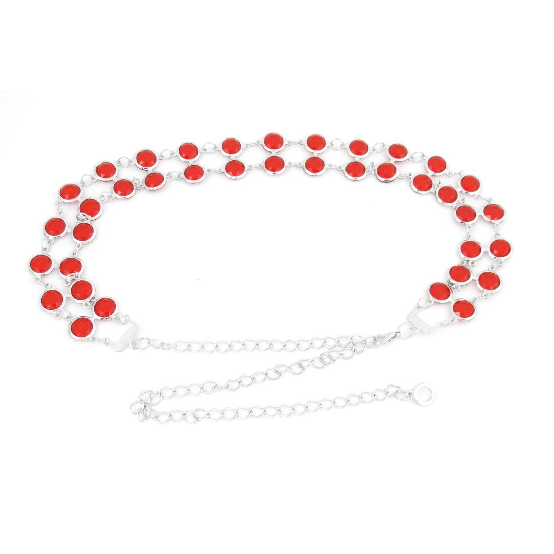 Ladies Rhinestones Inlaid Metallic Waist Chain Belt Red