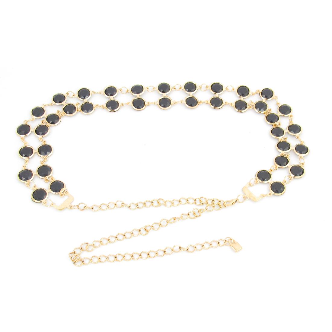 Ladies Rhinestones Inlaid Metallic Waist Chain Belt Black