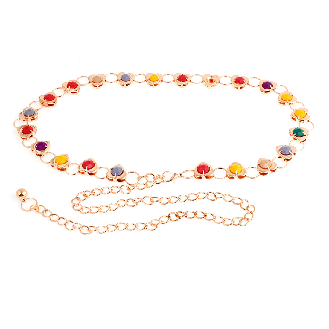 Ladies Multicolor Beads Accent Metallic Heart Shaped Waist Chain Gold Tone
