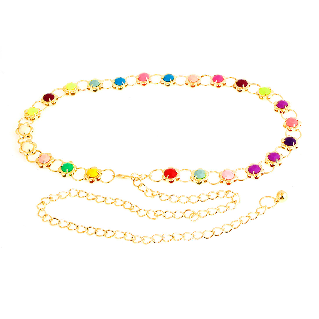 Woman Multicolor Beads Accent Metallic Flower Shaped Waist Chain Gold Tone