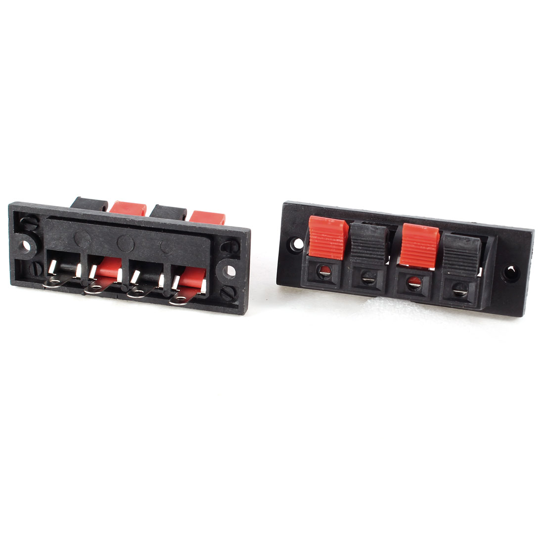 2pcs Red Black 4 Position Cable Wire Clip Socket Speaker Terminal