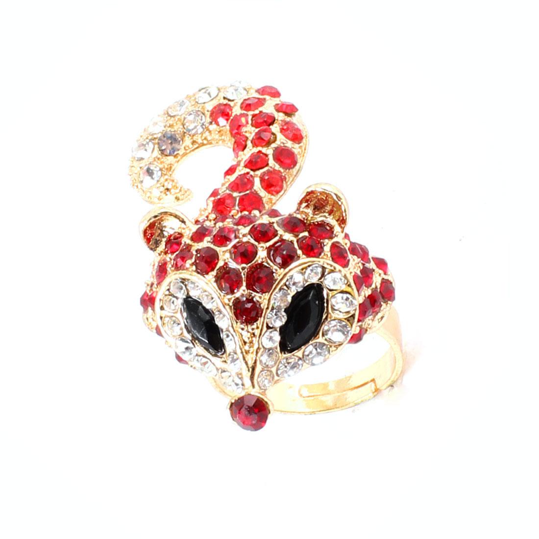 Woman Red Clear Black Rhinestones Decor Gold Tone Fox Finger Ring UK M