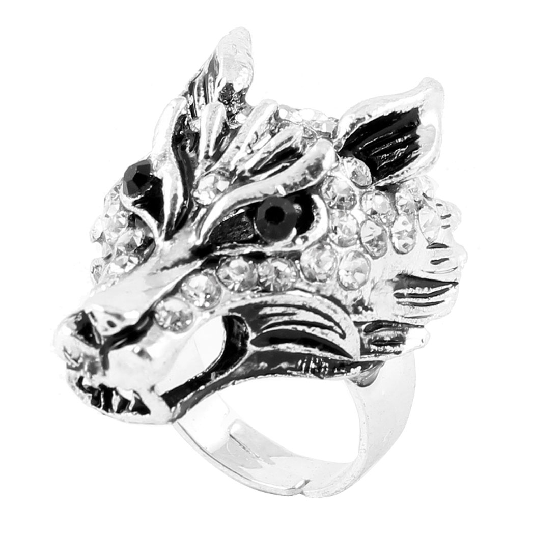 Ladies Clear Black Rhinestone Decor Silver Tone Wolf Design Finger Ring US 6 3/4