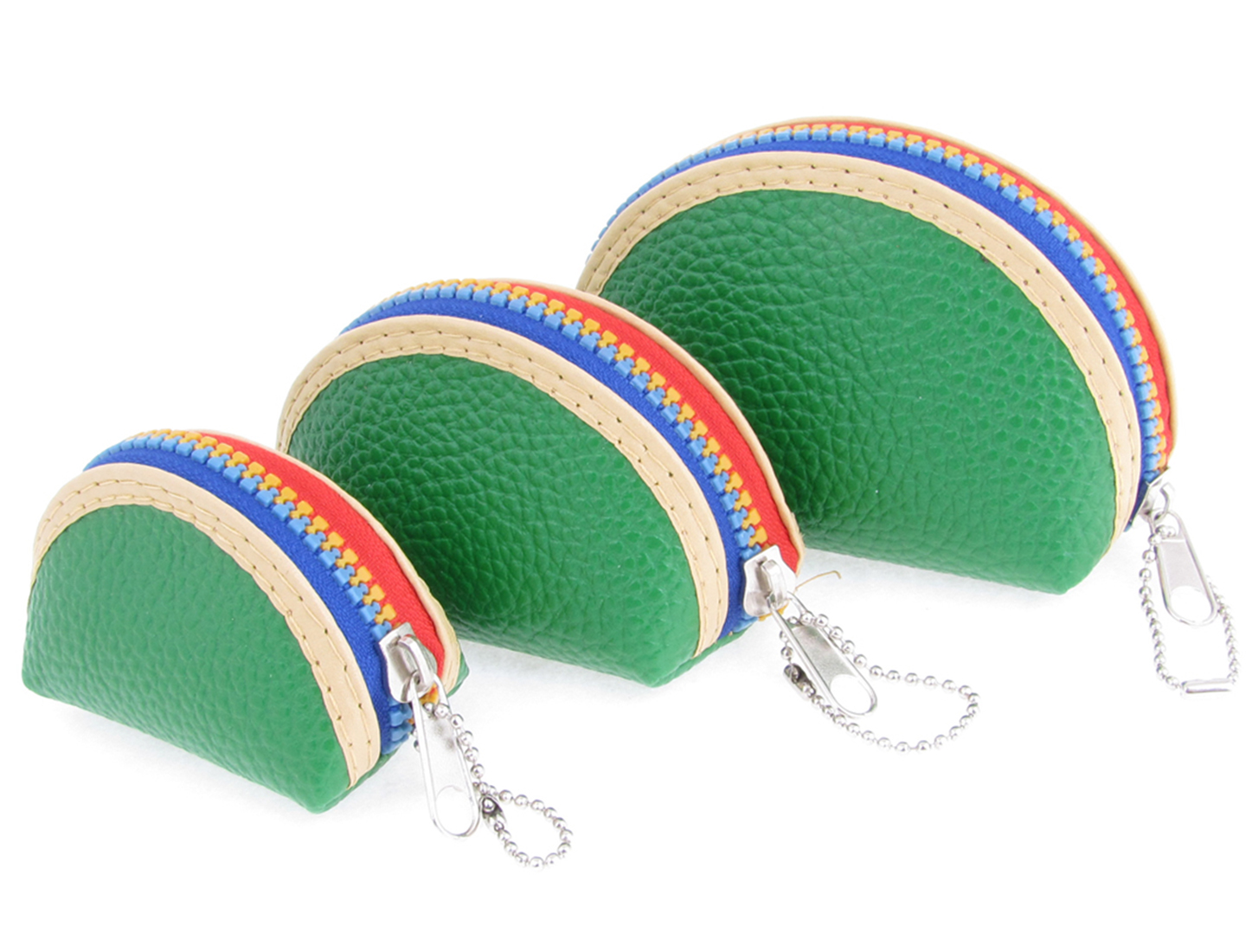 3 in 1 Green Faux Leather Half Round Wallet for Ladies Girls