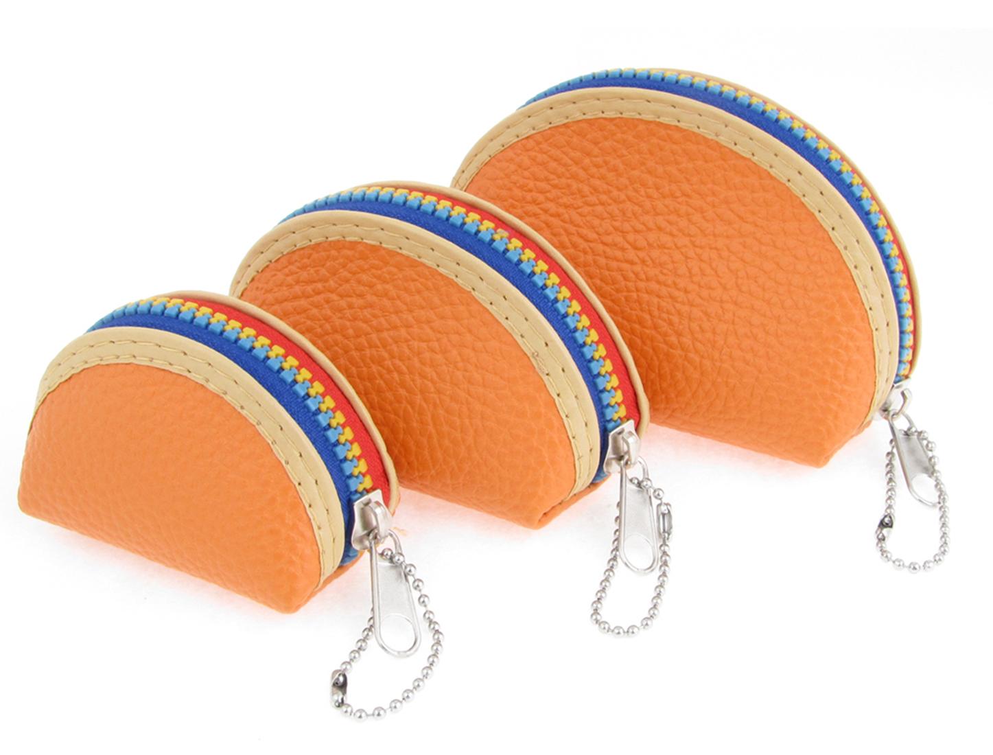 3 Pcs Ladies Faux Leather Mini Wallet Purse Orange