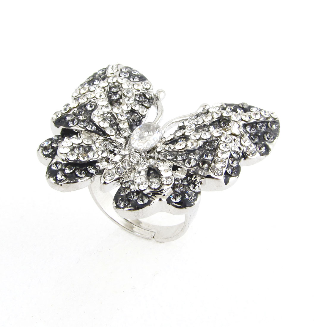 Gray Metal Butterfly Shape Decor Finger Ring US 6 1/2 for Lady