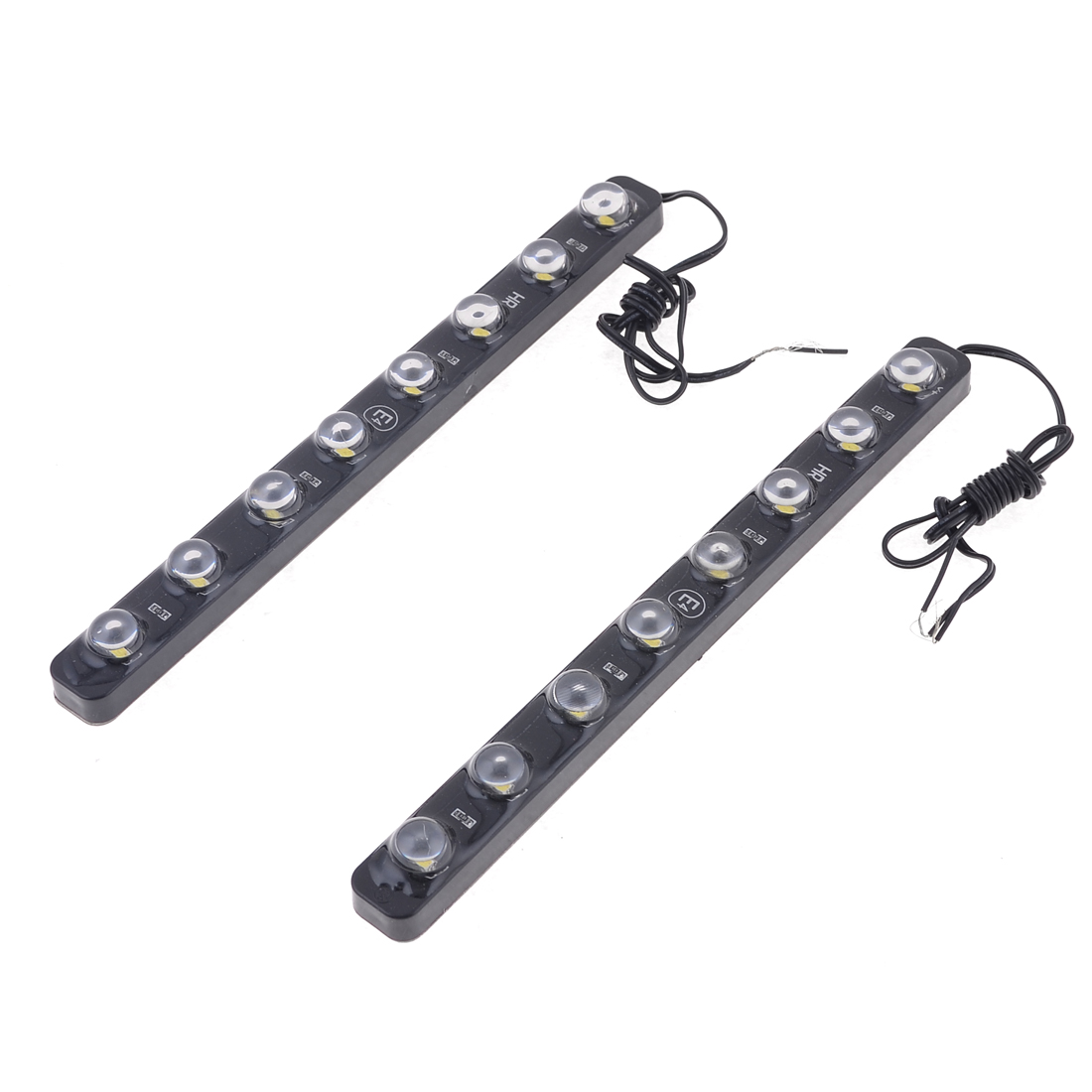 2 Pcs Auto Car Self Adhesive White 8 LED Lamp Daytime Running Lights Black