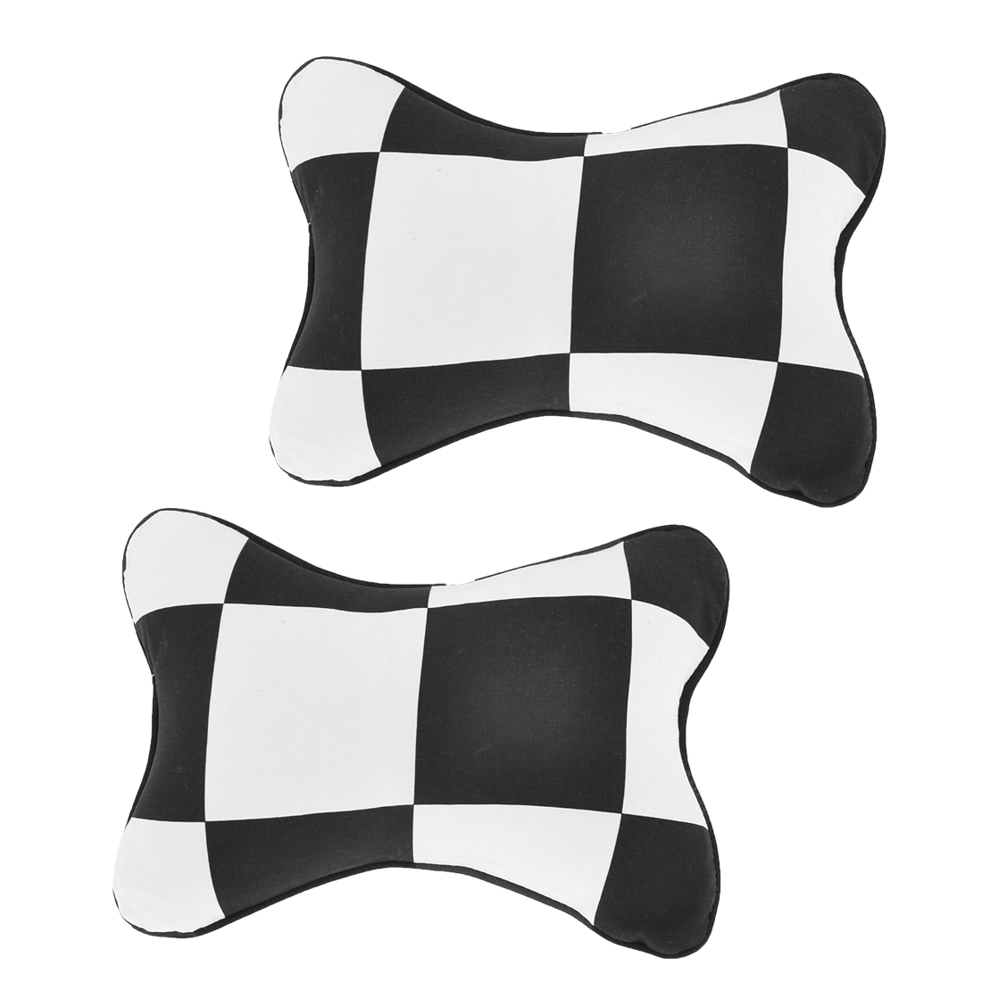 2 Pcs Black White Plaid Pattern Seat Neck Rest Pillow for Car Auto