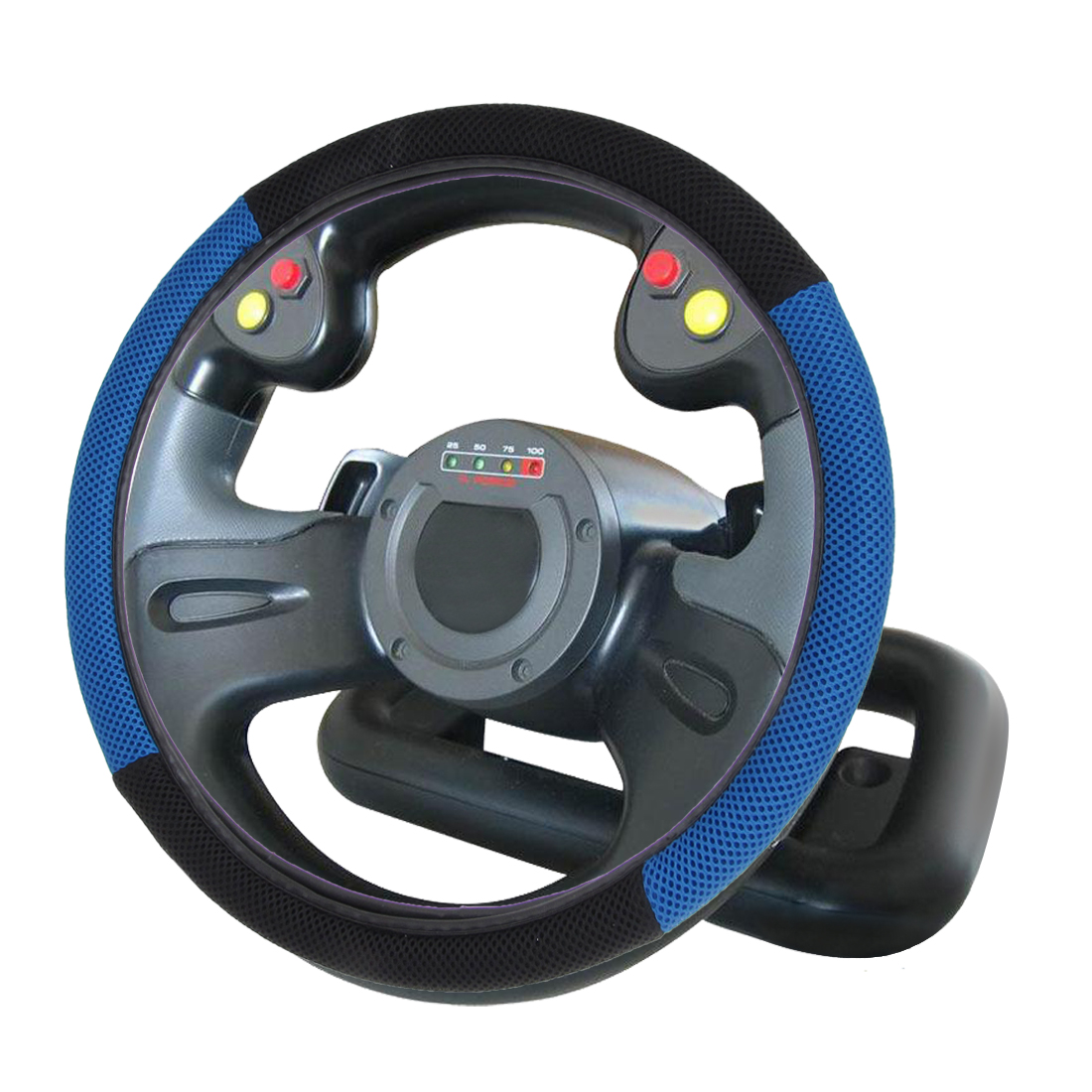Black Blue Mesh Rubber Elastomer Steering Wheel Cover for Car Truck