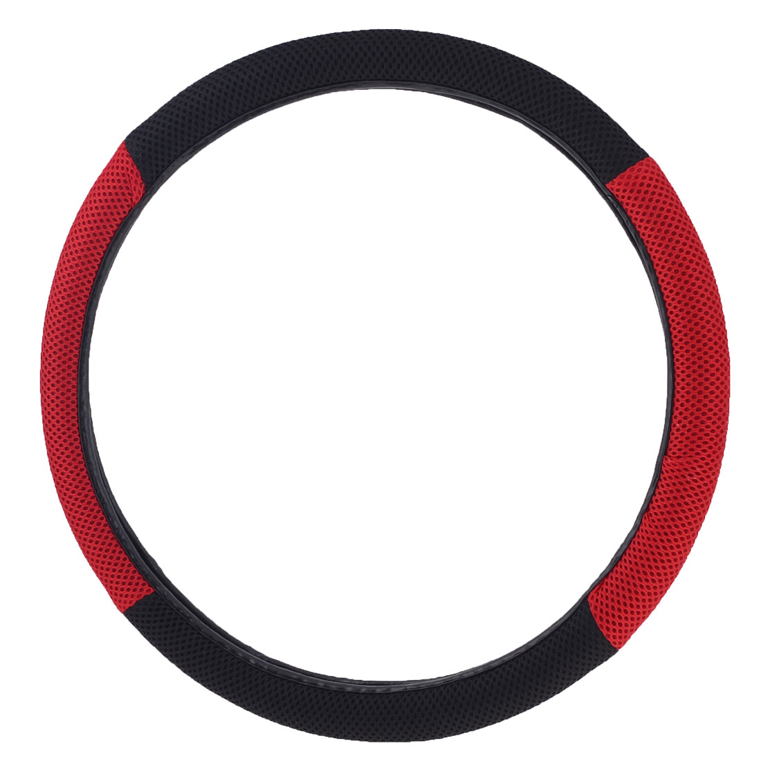 Black Red Mesh Rubber Elastomer Steering Wheel Cover for Car Truck