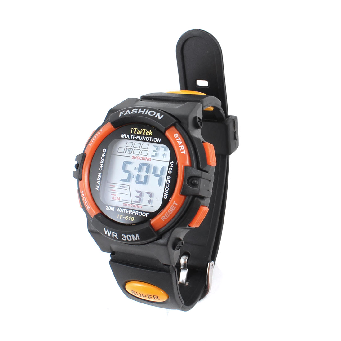 Women Adjustable Band Digital Sports Watch Wristwatch Black Orange