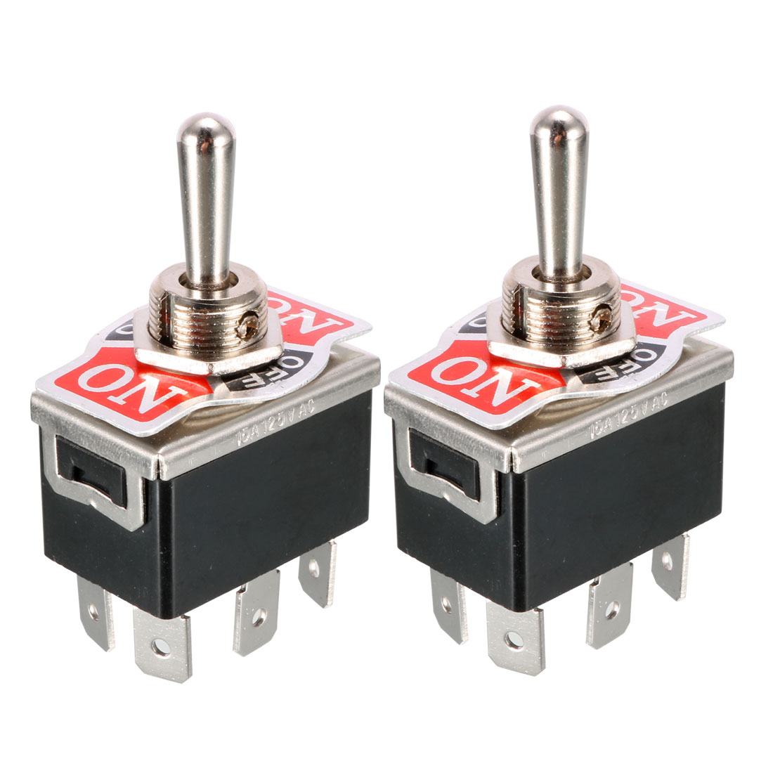 2 Pcs Black AC 250V/10A 125V/15A DPDT 3 Position ON/OFF/ON 6 Pins Toggle Switch