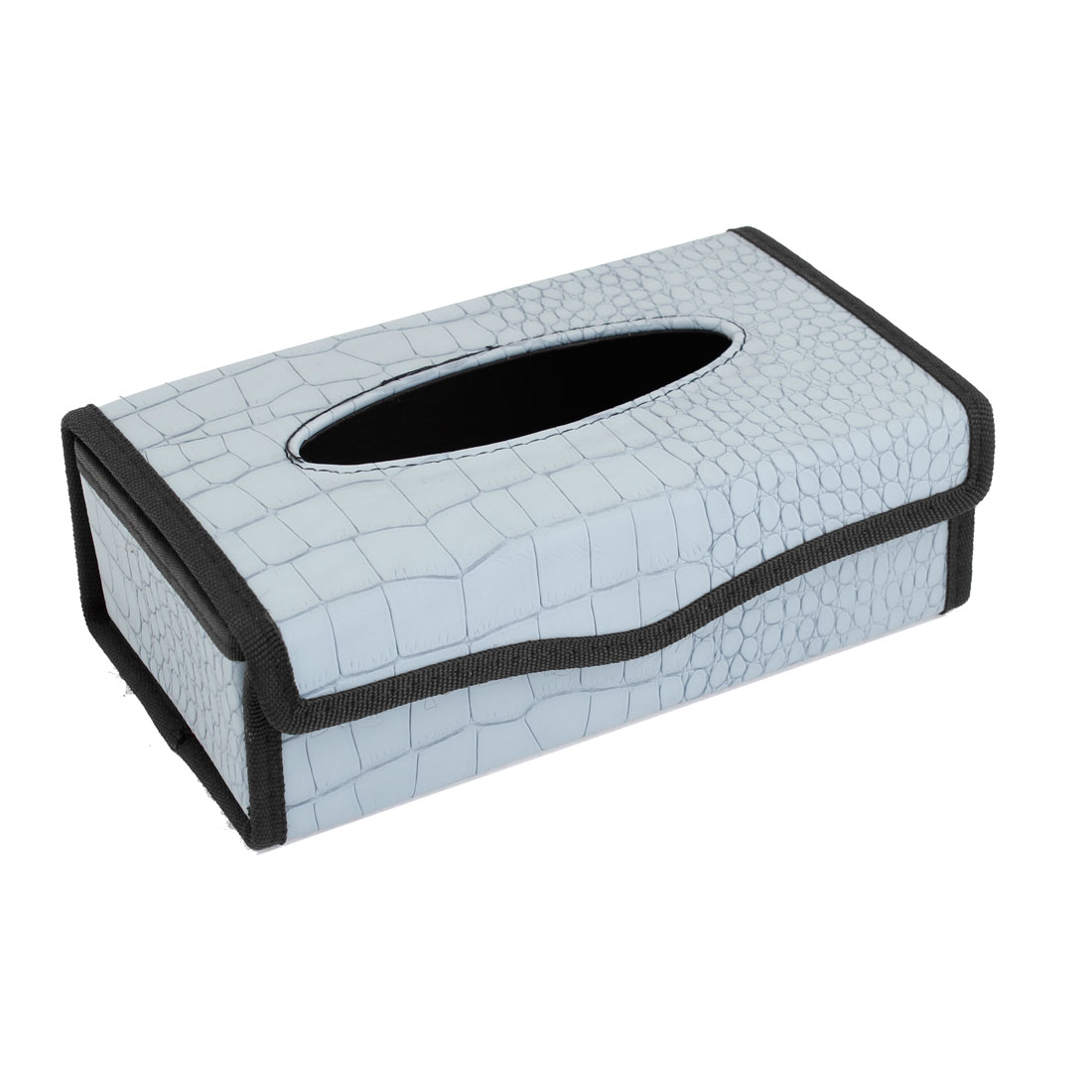 Faux Leather Crocodile Pattern Tissue Box Holder Blue Black for Car Autos