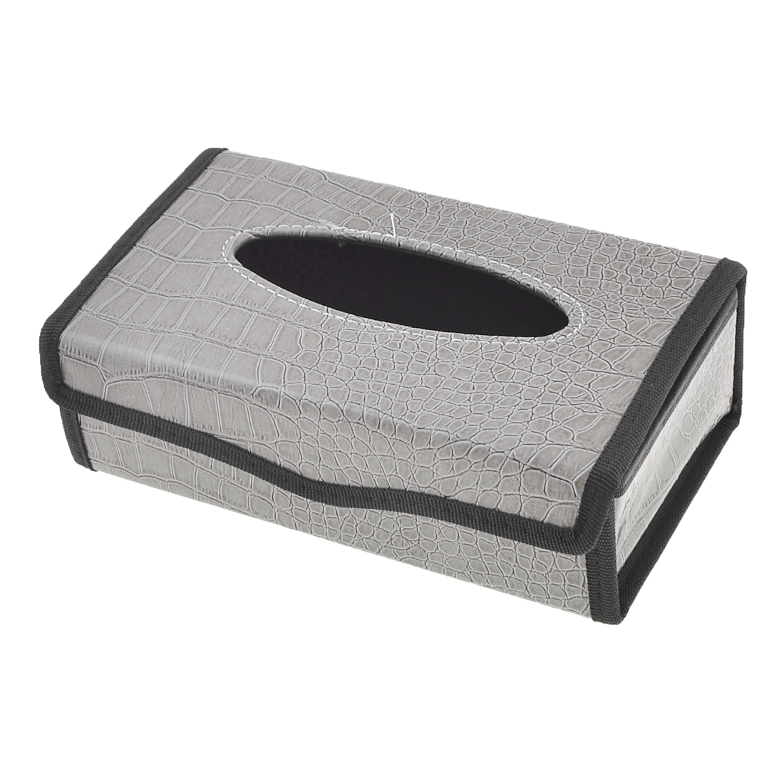 Faux Leather Crocodile Pattern Tissue Box Holder Gray Black for Car Autos
