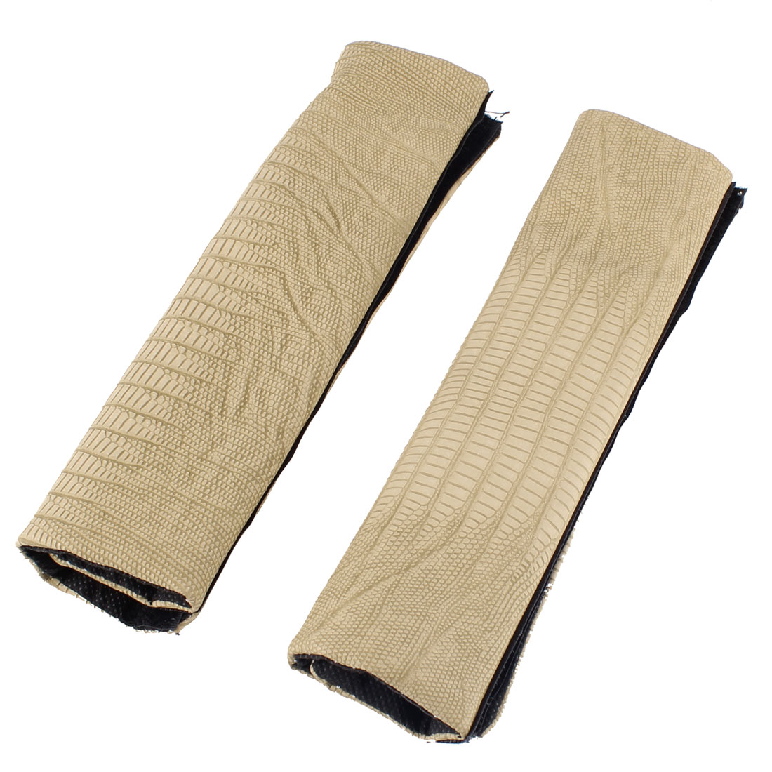 2 Pcs Beige Faux Leather Crocodile Pattern Seatbelt Covers for Vehicles Cars
