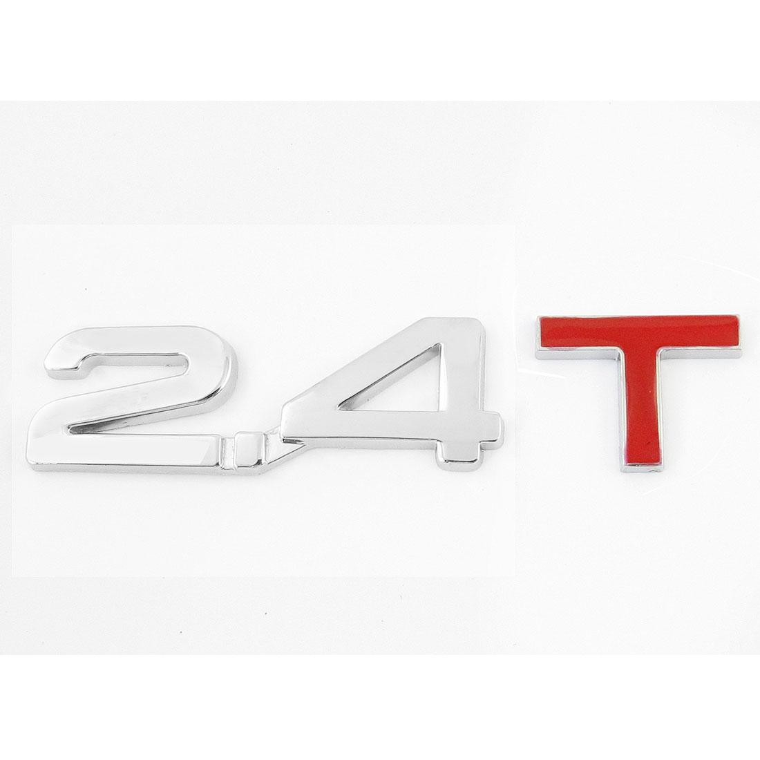 2.4T Metal Shape Car Auto Badge Sticker Emblem Ornament Silver Tone