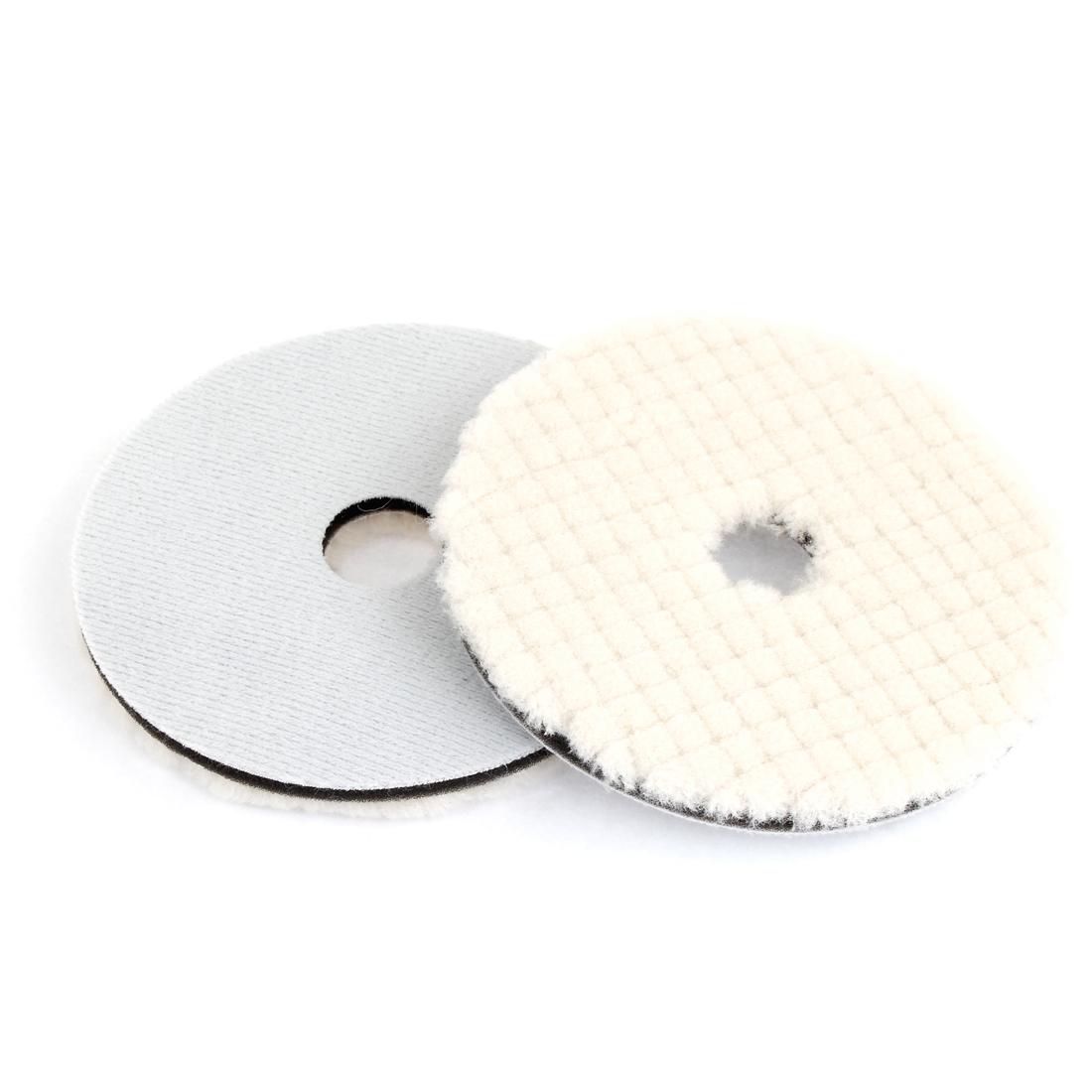"""2 Pcs 5"""" Round Check Prints White Faux Wool Polishing Wheel for Car"""