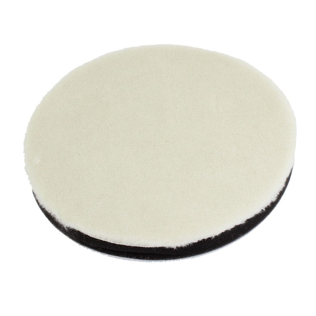 "White Faux Wool 7.3"" Dia Round Polishing Pad Wheel for Car"