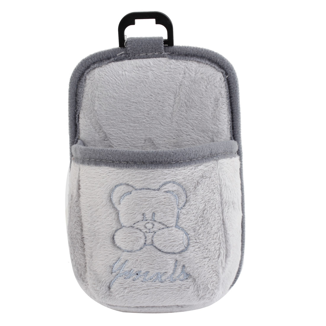 Gray Plush Blue Bear Decor Car Air Vent Storage Bag Pocket Cell Phone Holder