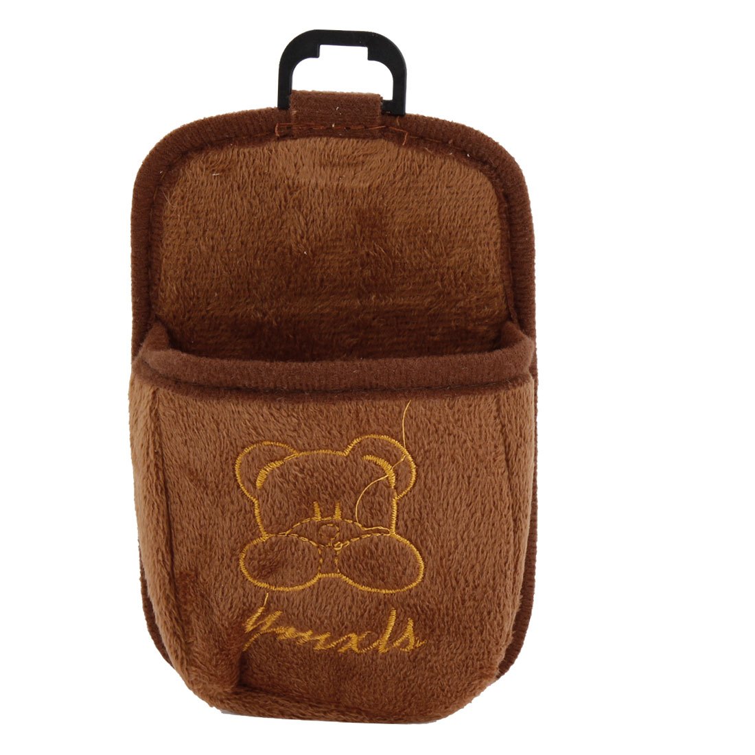Car Air Vent Bear Decor Plush Storage Bag Pocket Cell Phone Holder Brown