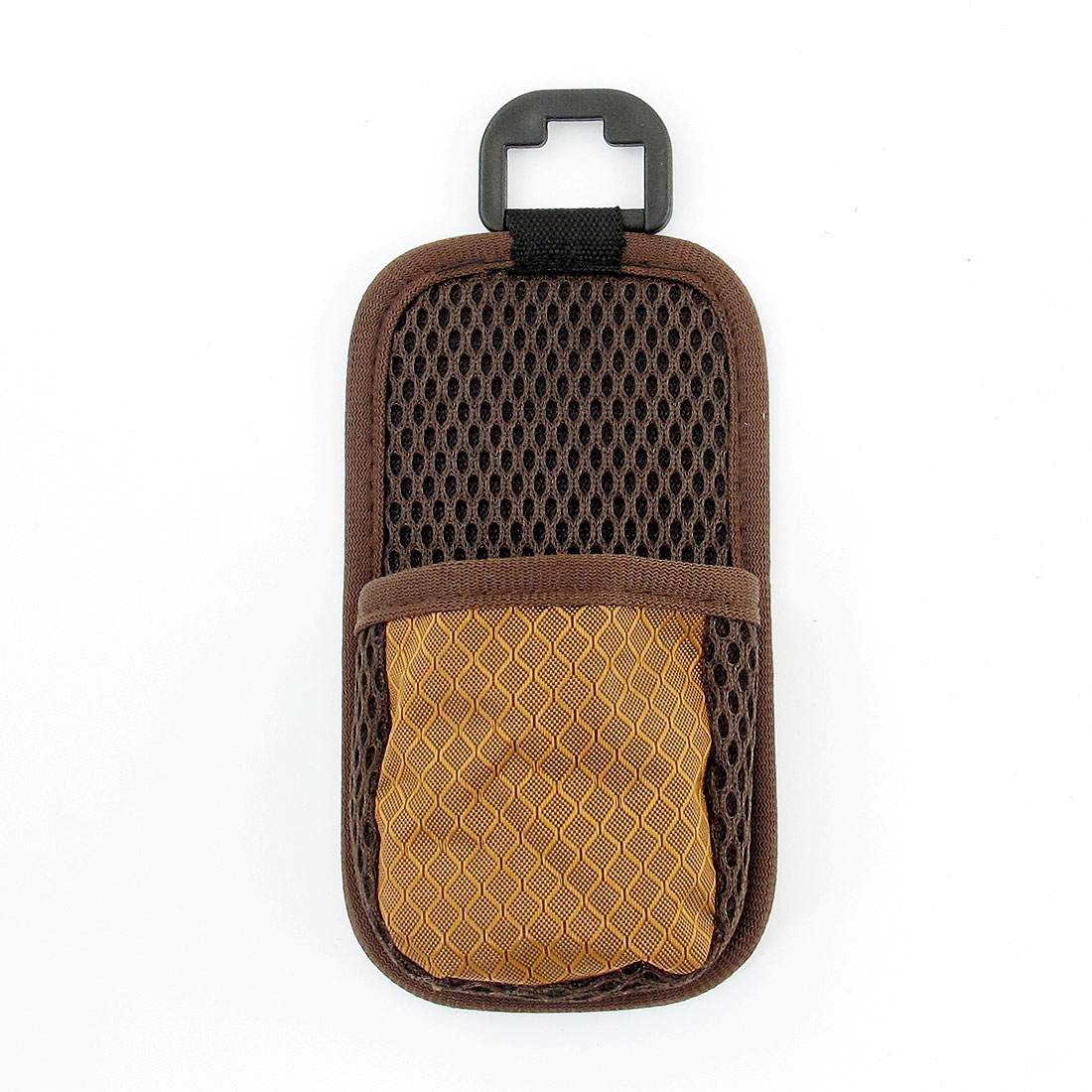 Car Air Vent Mount Brown Nylon Mesh Phone Pocket Bag Pouch Holder