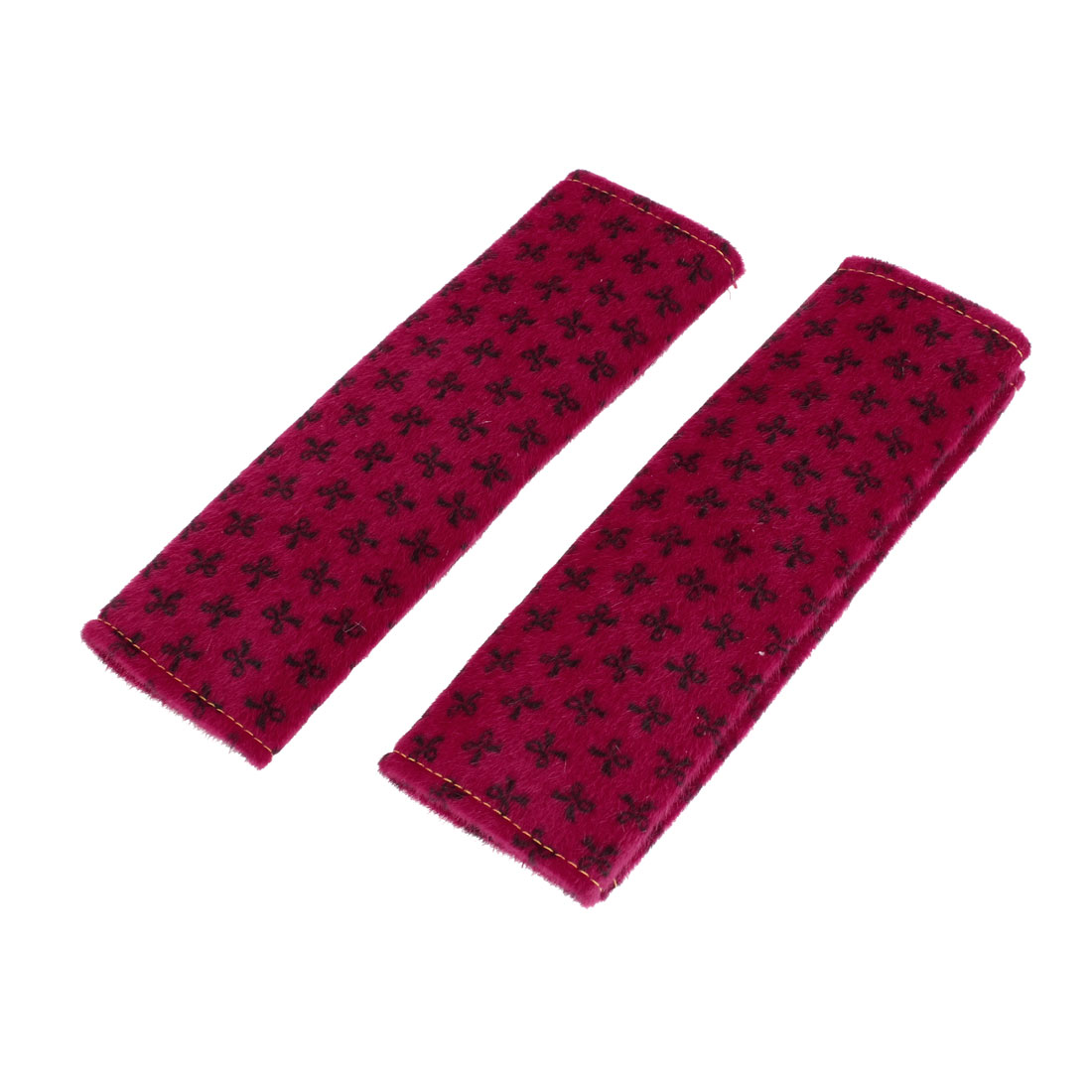 Black Bowknot Print Fleece Vehicle Seatbelt Cover Shoulder Pad Red x 2