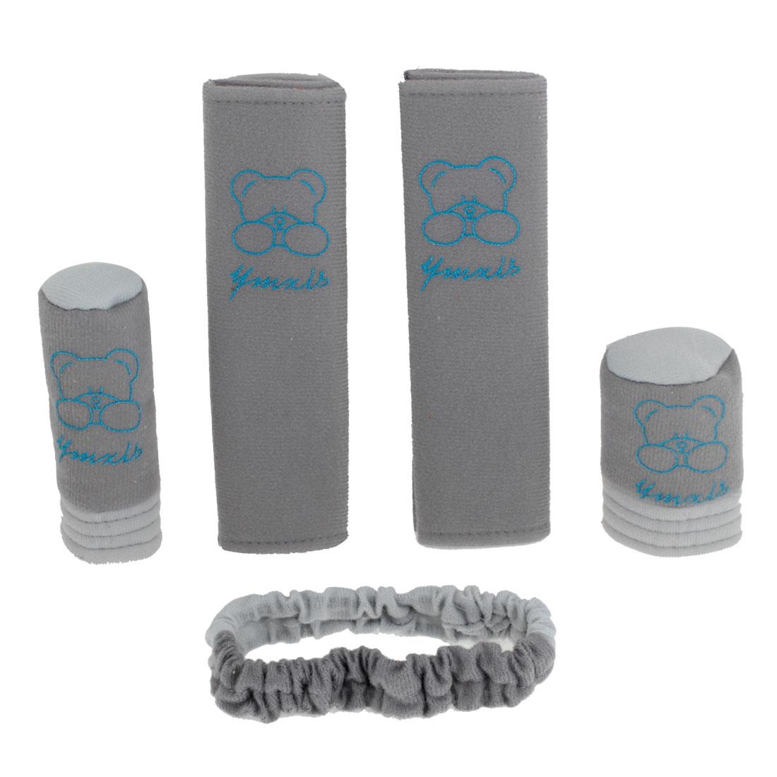 Gray Bear Pattern Auto Hand Brake Shift Knob Safety Belt Cover Set 5pcs