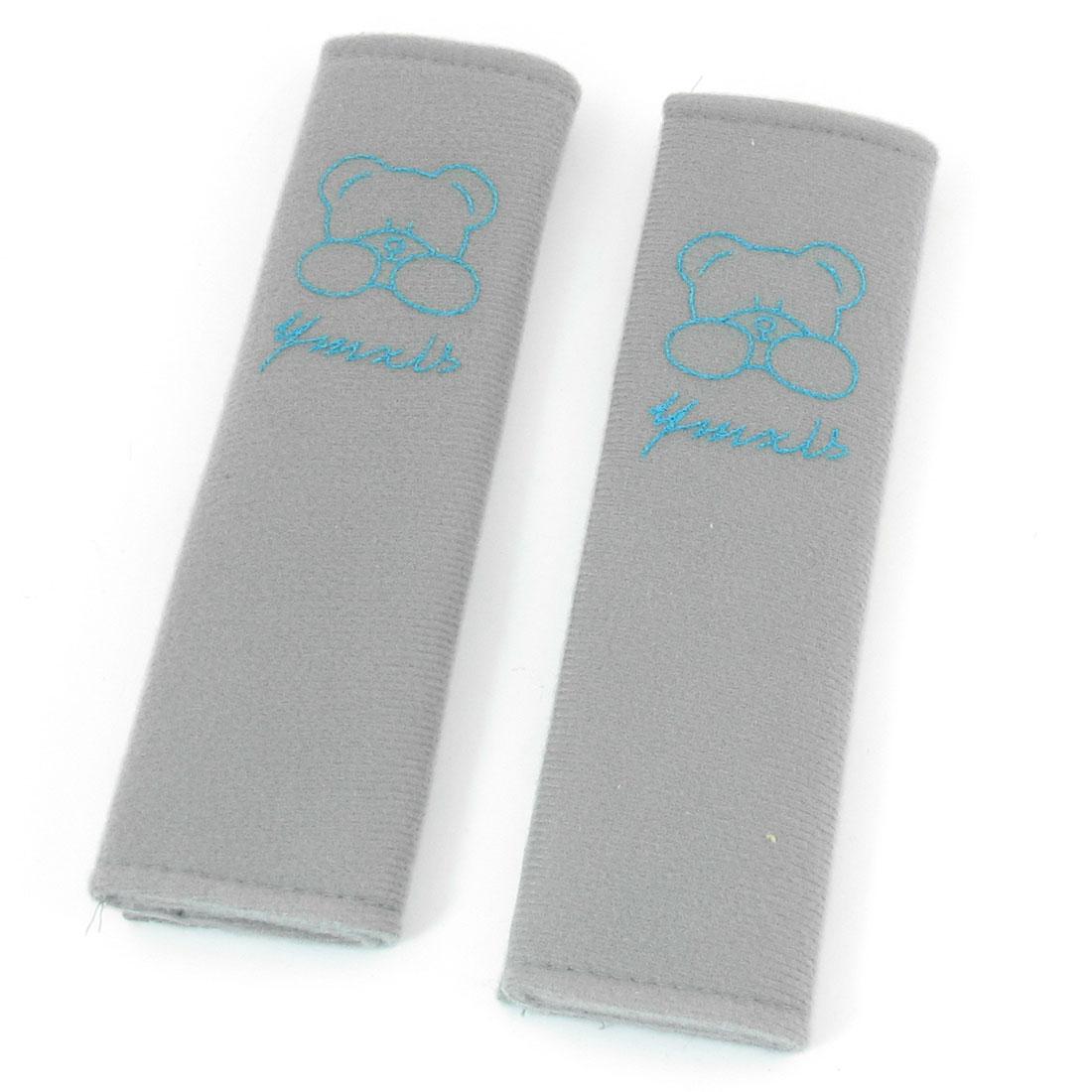 Cars Hook Loop Closure Blue Bear Print Gray Seat Belt Shoulder Fleece Pads x 2