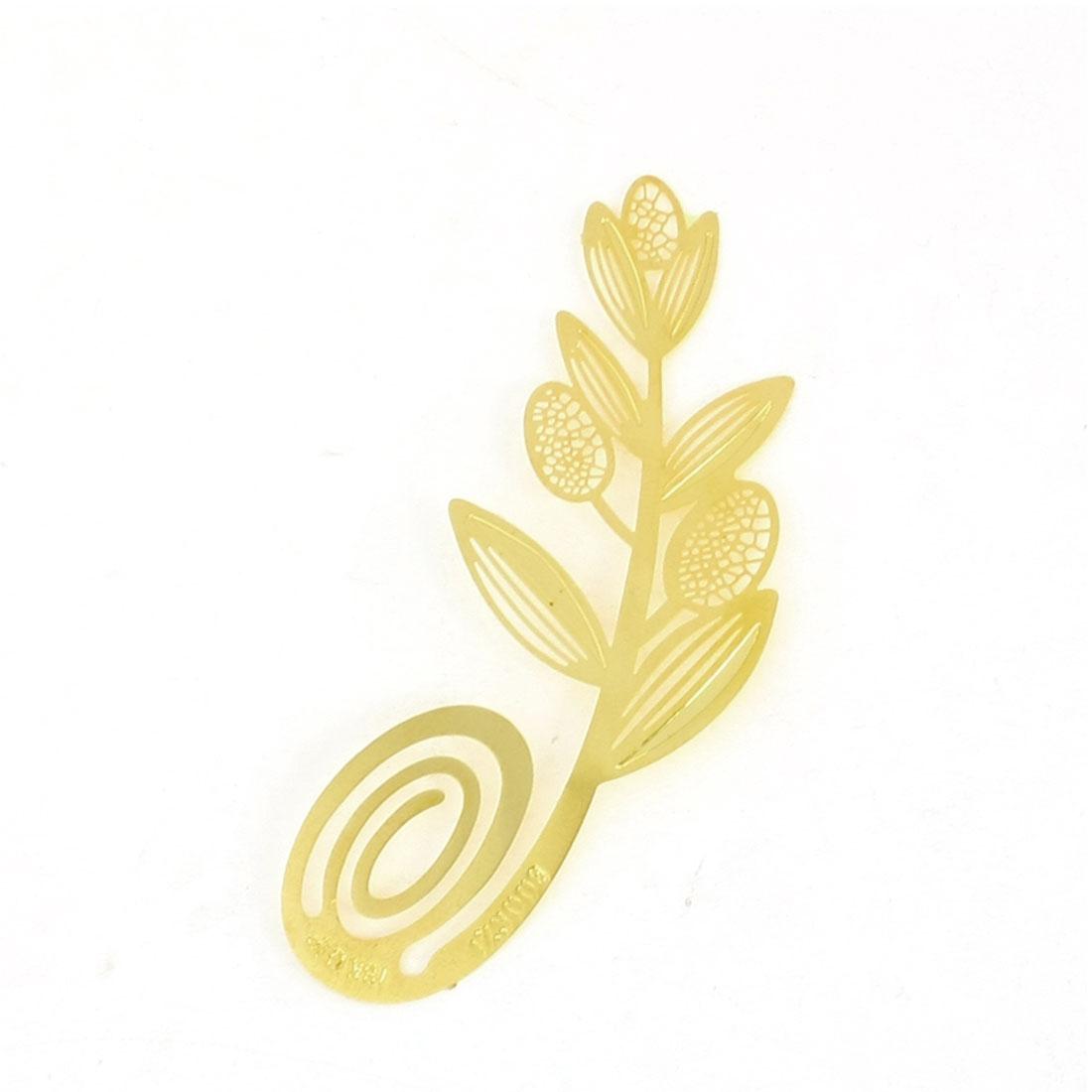 Gold Tone Metal Leaf Shape Page Holder Bookmark for Reader