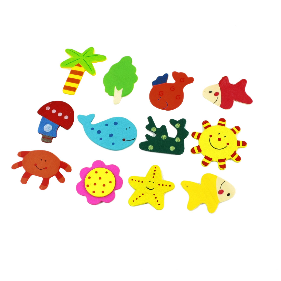 12pcs Colorful Wooden Fish Tress Star Sticker Decor for Refrigerator