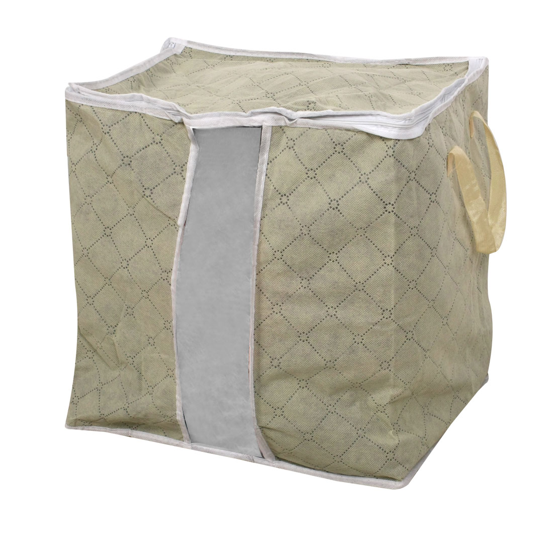 Zipper Closure Gray Check Print Non-woven Fabric Storage Pouch Bag