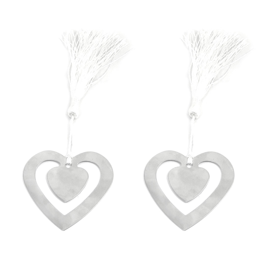 2pcs White Tassel Decor Heart Shape Page Holder Bookmark for Reader