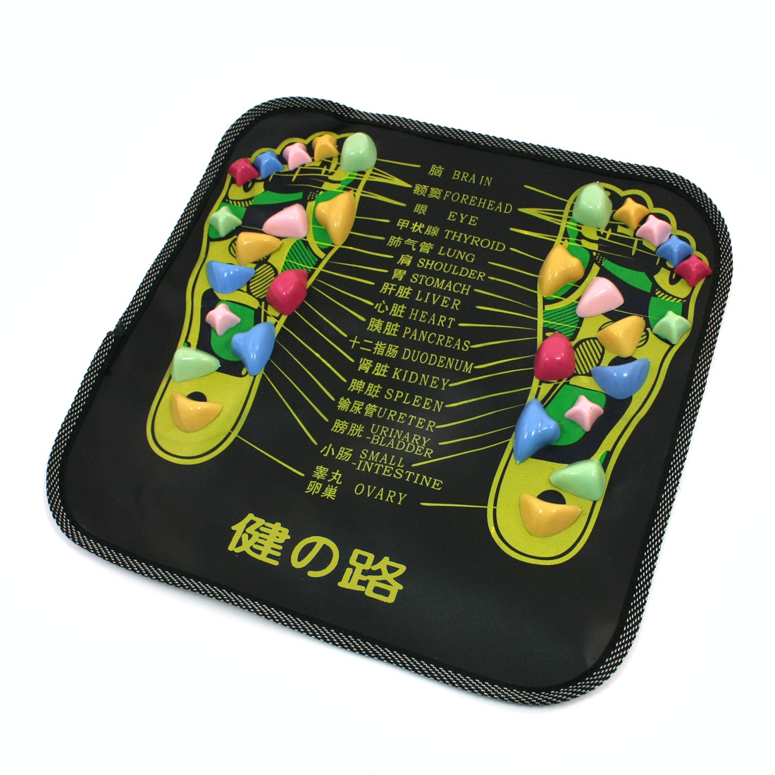Colored Plastic Walk Stone Square Healthy Foot Massage Mat Pad Cushion