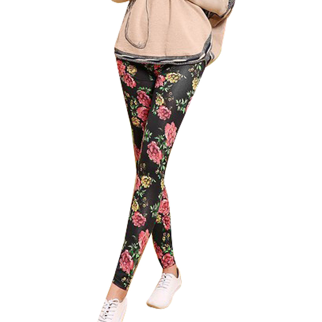 Women Floral Pattern Elastic Close-fitting Scrawl Slim Leggings Black XS