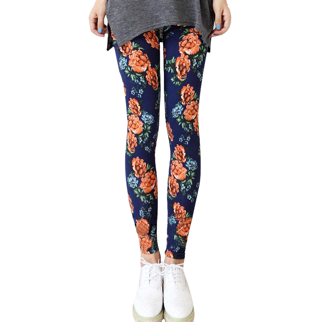 Women Floral Pattern Close-fitting Scrawl Slim Leggings Navy Blue XS