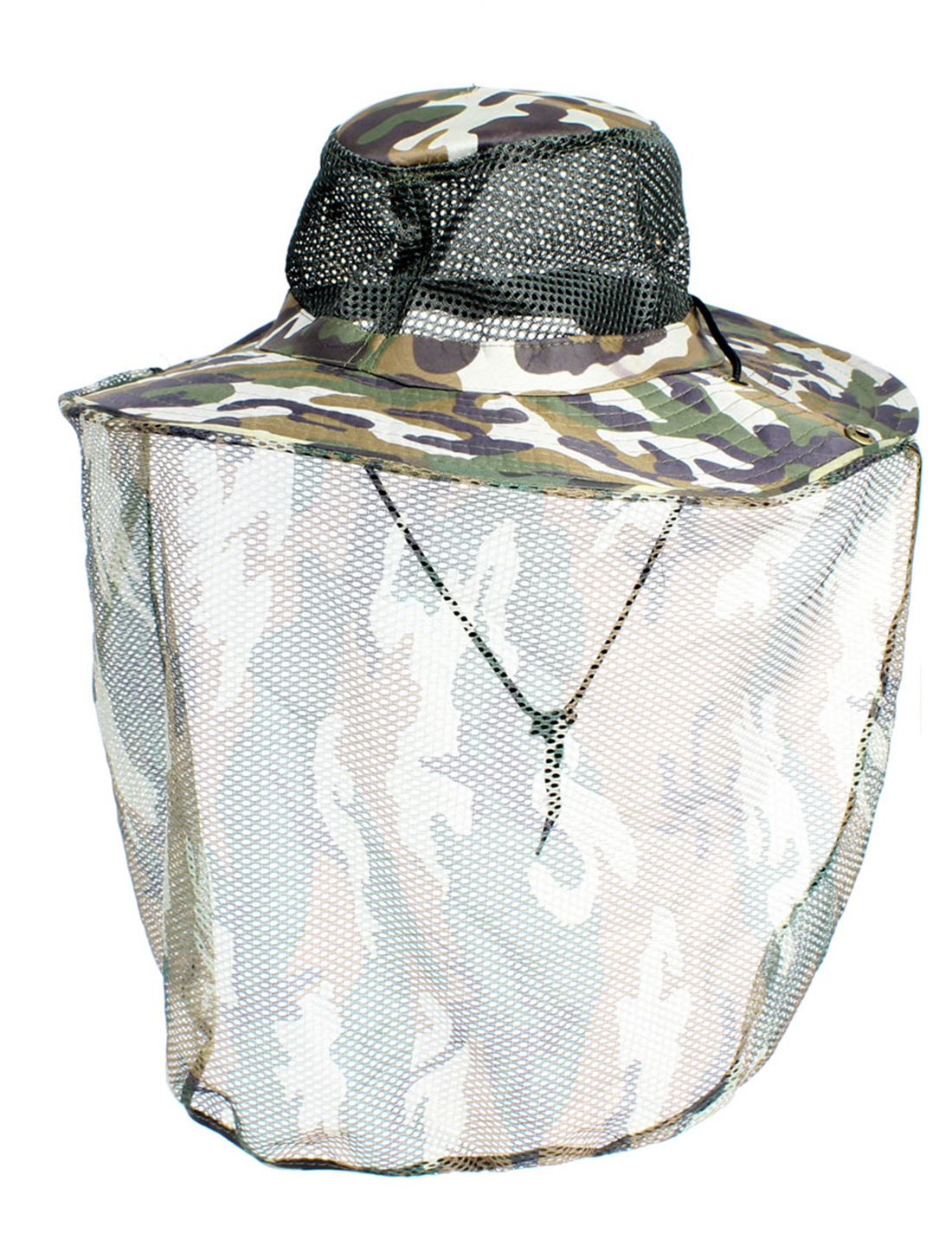 Unisex Adjustable Chin Strap Camouflage Pattern Flap Bucket Hat
