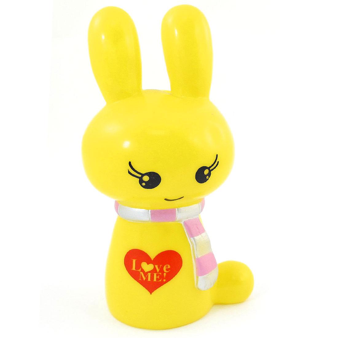 Yellow Plastic Scarf Wearing Rabbit Design Coin Saving Box Holder