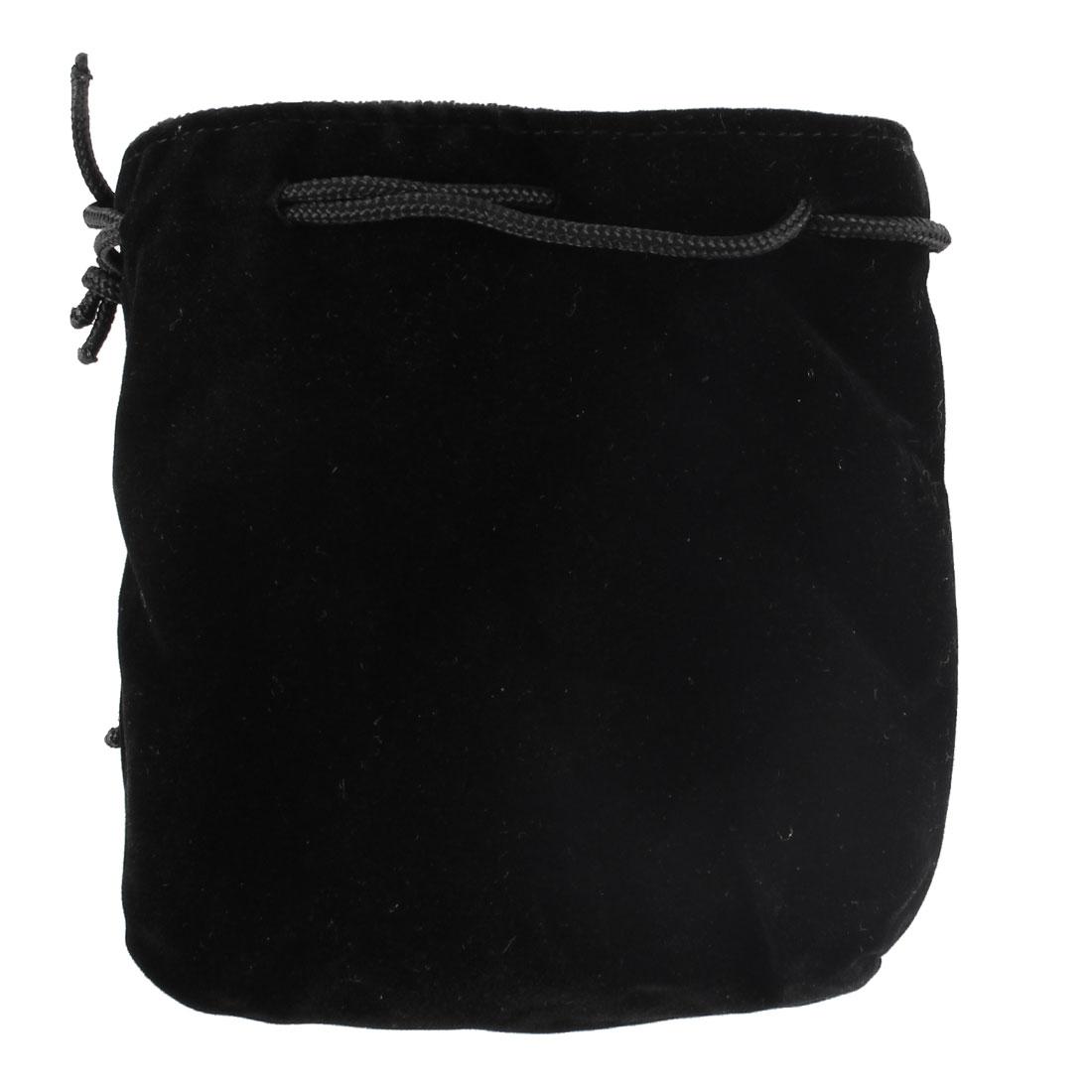 Portable Plush Lining Black Velvet Camera Lens Holder Pouch Case