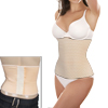 Lady Elastic Fabric Shapewear Trimmer Corset Waist Cincher Beige XXL