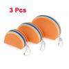 3 Pcs Zipper Close Faux Leather Mini Wallet Purse Orange