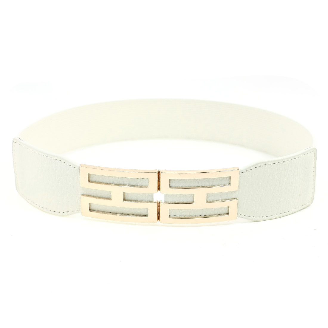 Ladies Fashionable I Shape Metal Interlocking Clasp White Elastic Waistband