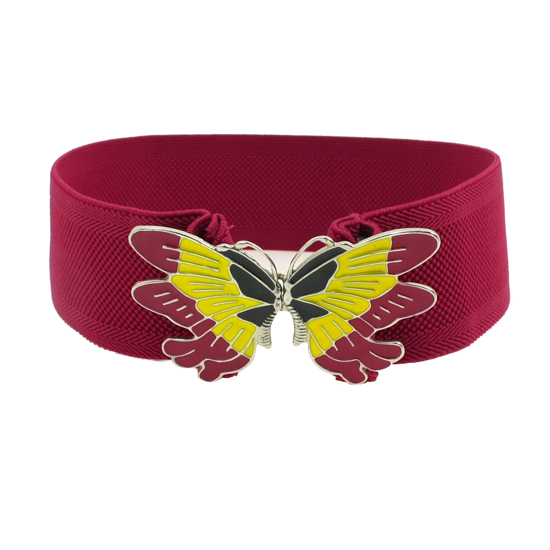 Woman Butterfly Design Metal Buckle Stretchy Waist Belt Cinch Red