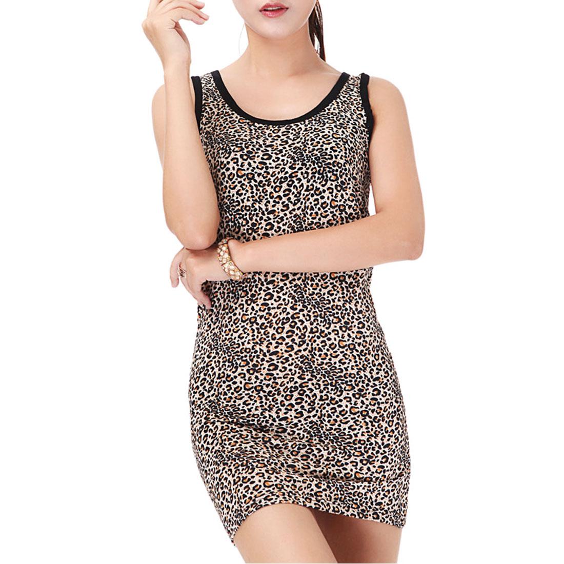 Woman Leopard Pattern Stretch Closefitting Racer Back Tank Top Black Brown XS